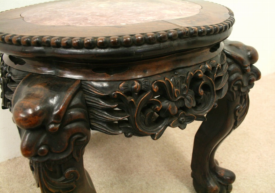 Antique Low Chinese Marble Top Stand