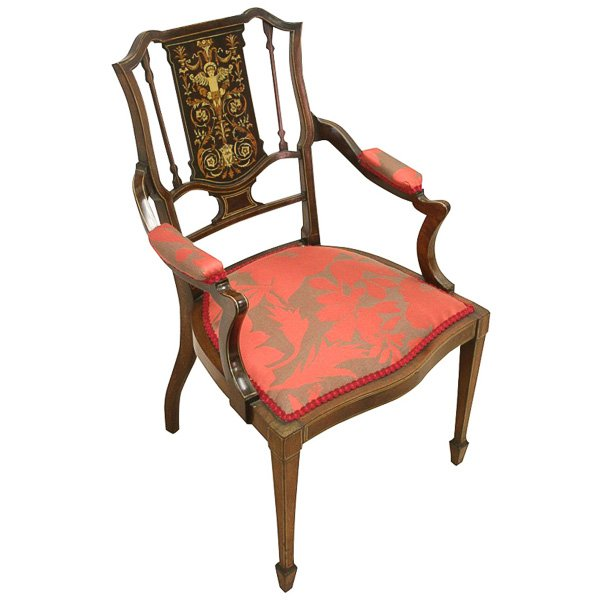 Late Victorian Inlaid Mahogany Armchair