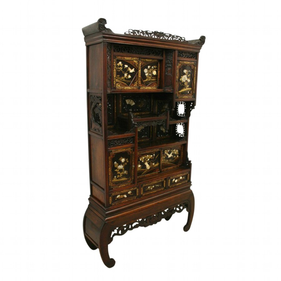 Japanese Carved Shodana Cabinet
