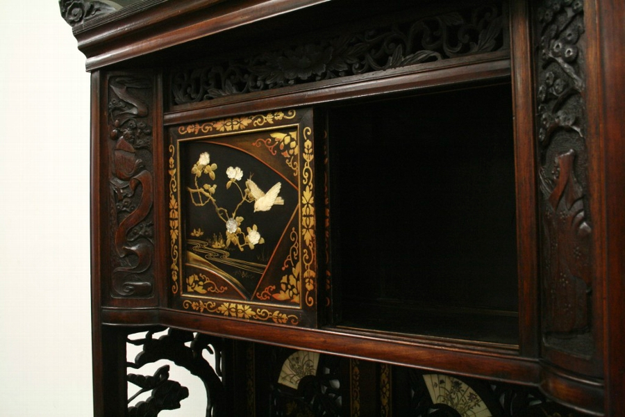 Antique Japanese Carved Shodana Cabinet