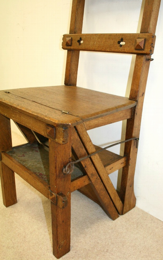 Antique Set of Oak Metamorphic Library Steps