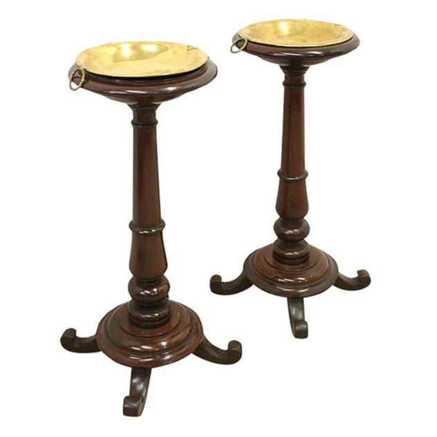 Pair of Mahogany and Brass Stands