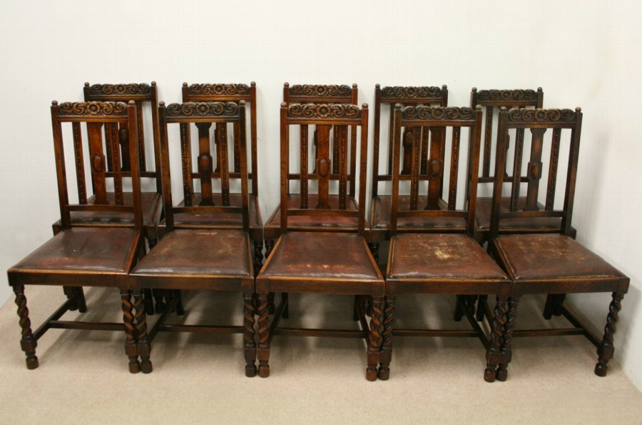 Miraculous Set Of 10 Jacobean Style Oak Dining Chairs Bralicious Painted Fabric Chair Ideas Braliciousco