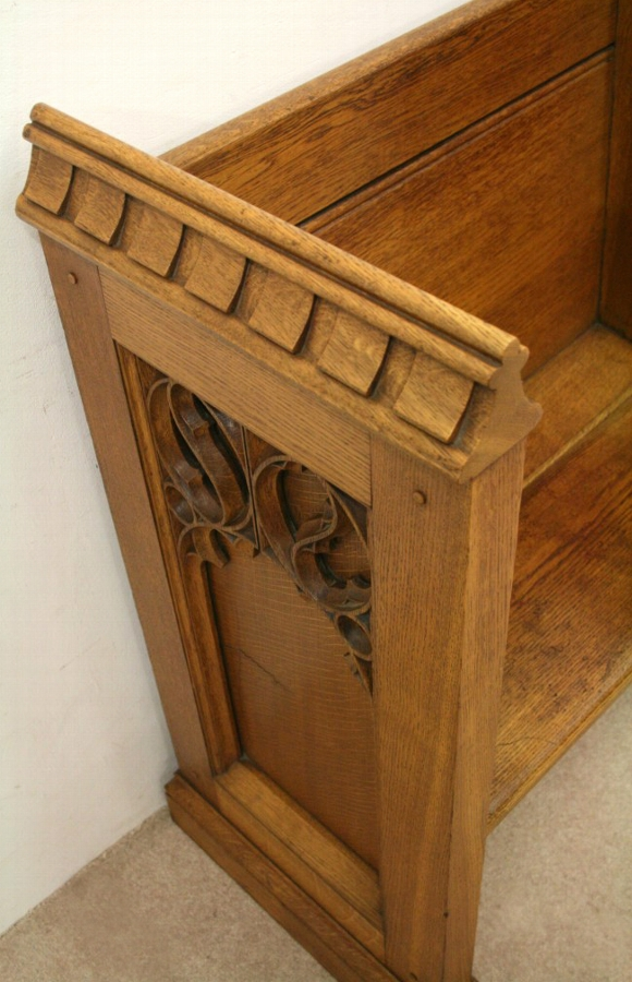 Antique Carved Oak Monks Bench/Prayer Stall