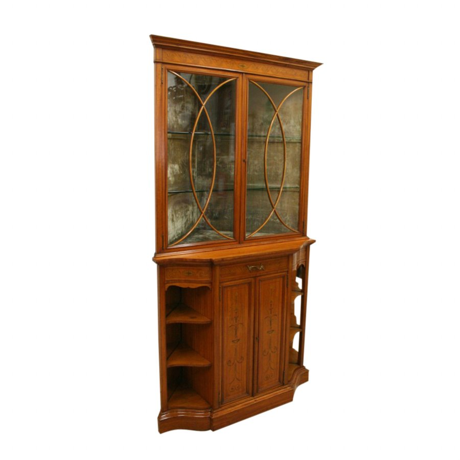 Late Victorian Satinwood Corner Cabinet
