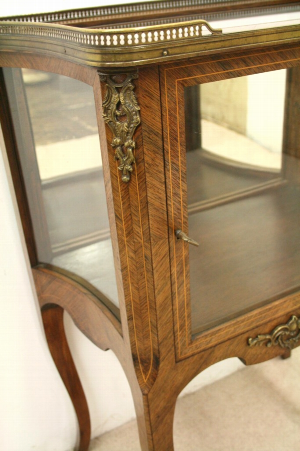 Antique Victorian Rosewood Vitrine/Display Cabinet