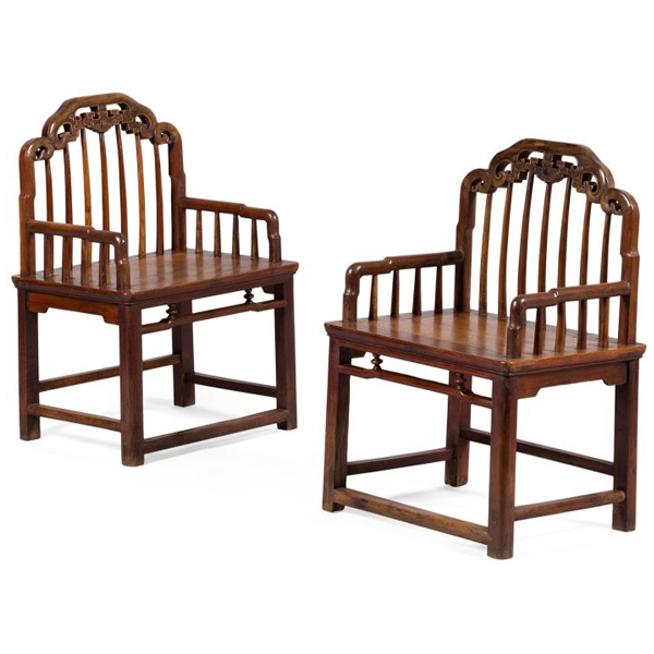 Pair of Chinese Jumu Armchairs