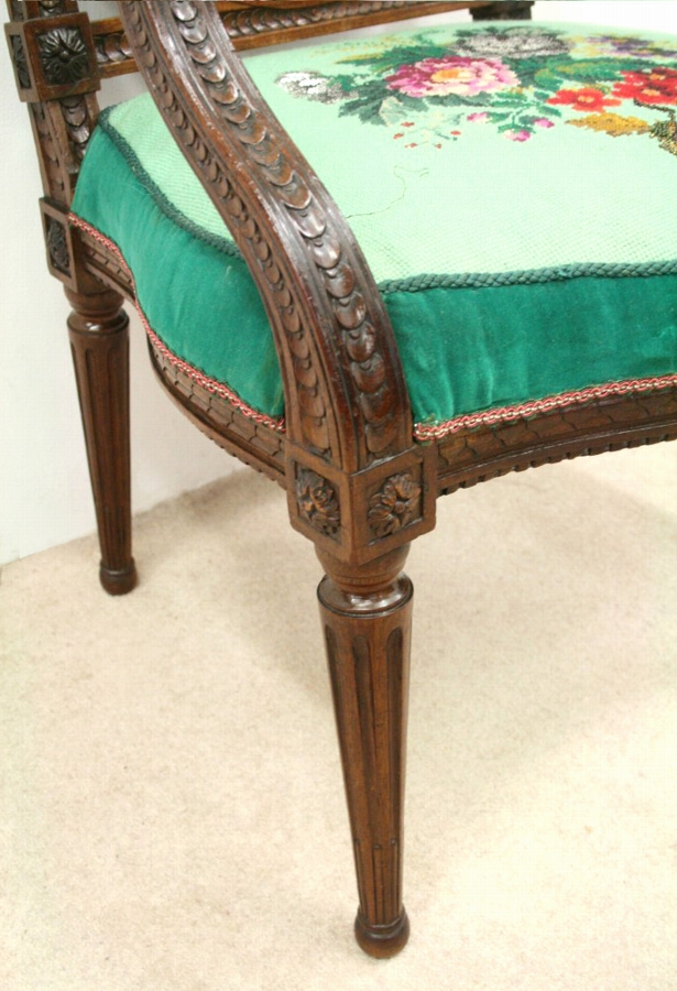 Antique Louis XVI Style Carved Walnut Armchair