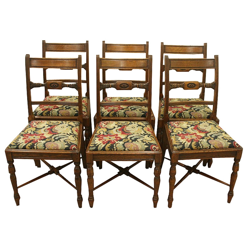Set of George III Oak Dining Chairs