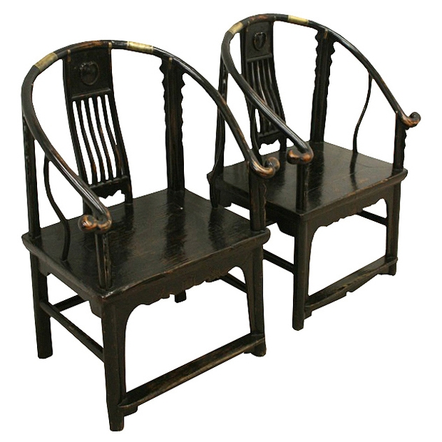 Pair of Chinese Hardwood Child's Chairs