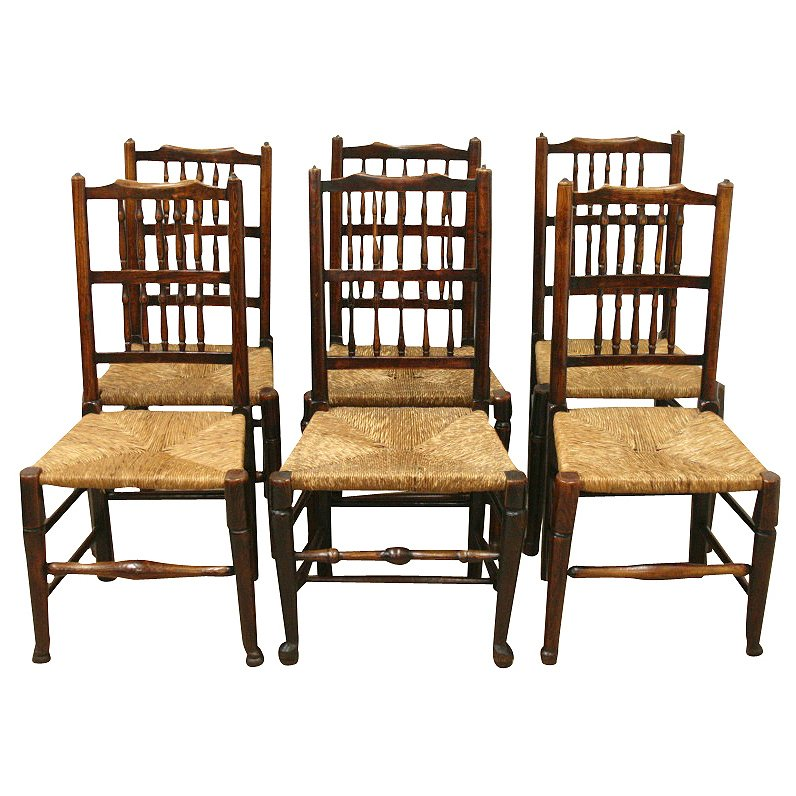 Set of 6 Spindle Back Dining Chairs