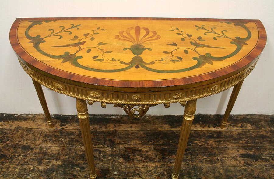 Antique Adams Style Satinwood Demi Lune Side Table