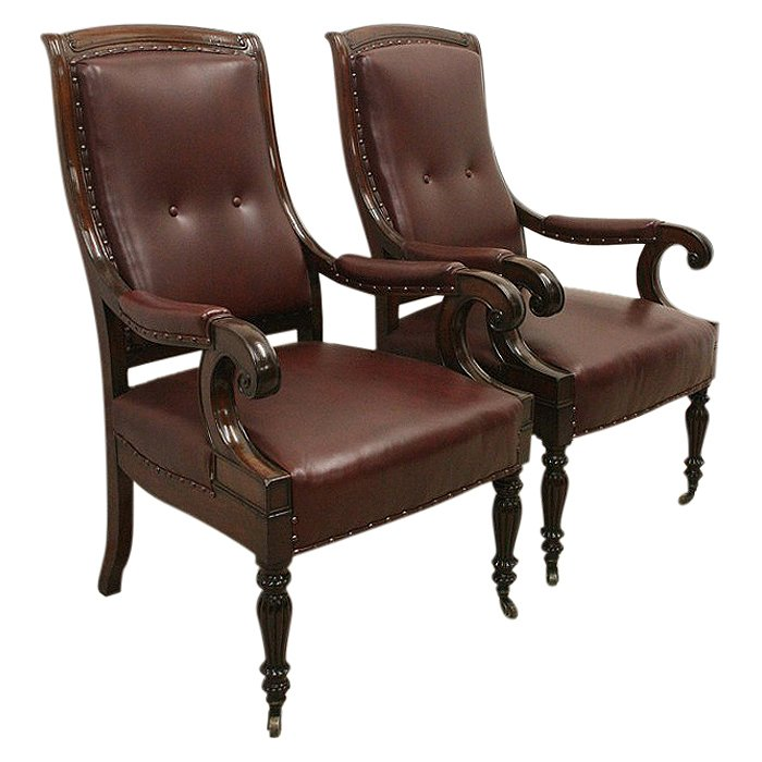 Pair of William IV Library Chairs/Armchairs