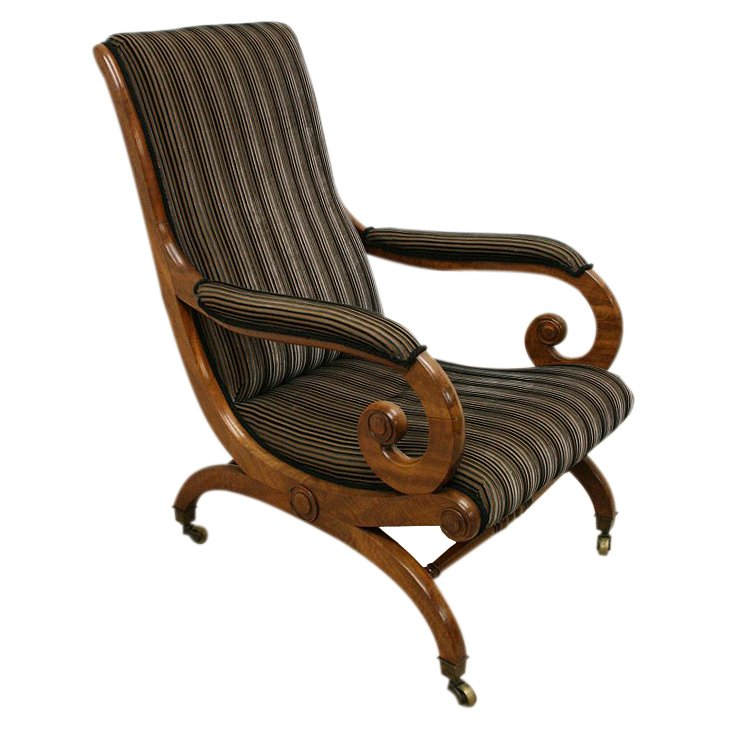 George IV Mahogany Library Chair