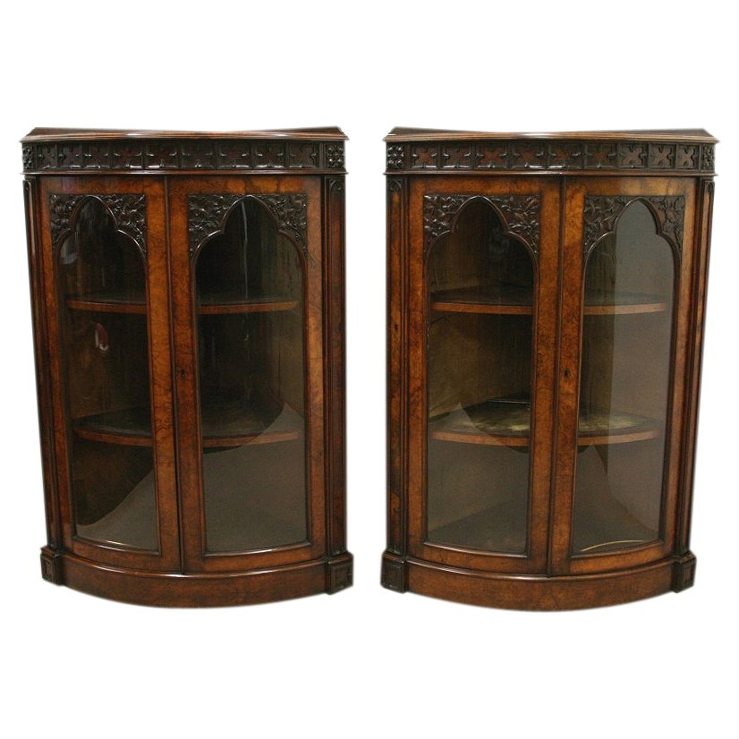 Pair of Victorian Bow Front Corner Cabinets
