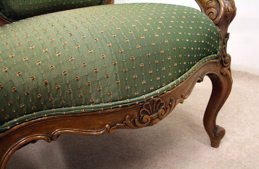 Antique Pair of Louis XVI Style Carved Walnut Armchairs