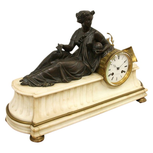 Victorian Marble and Bronze Mantel Clock