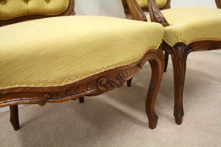 Antique Pair of Carved Walnut French Fauteuil Chairs