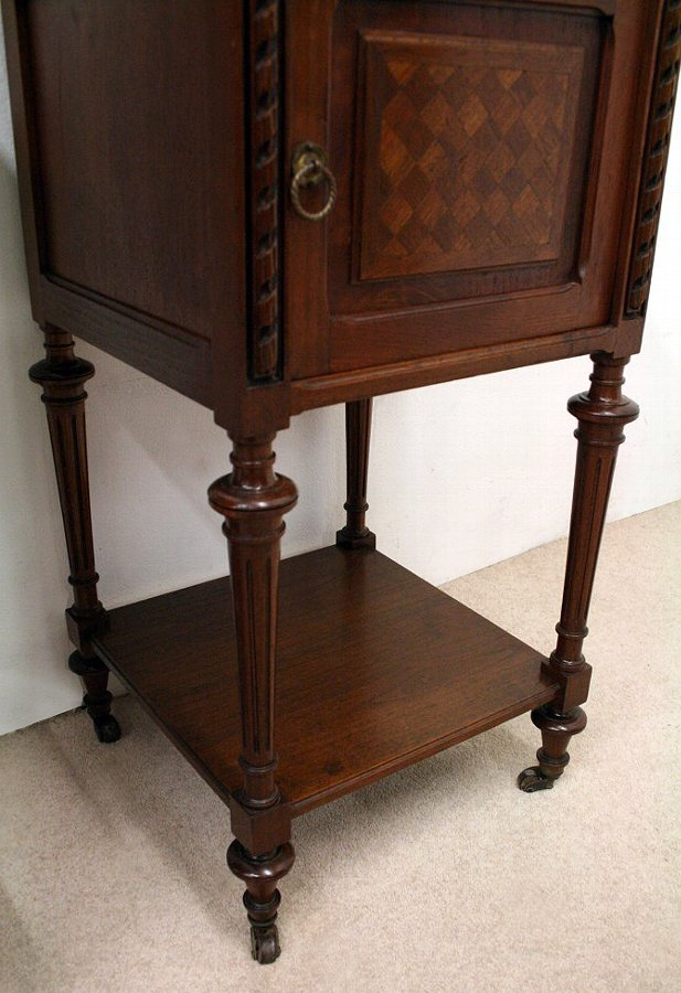 Antique Pair of French Walnut Bedside Cabinets
