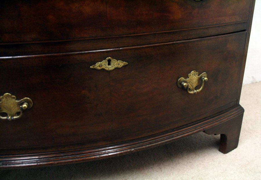 Antique George II Style Mahogany Bow Front Chest on Chest