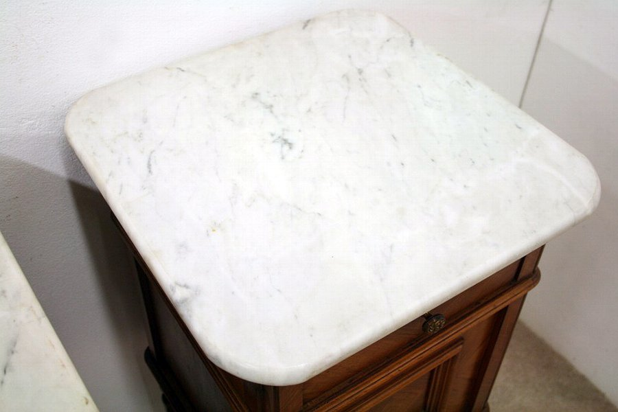 Antique Pair of French Walnut Marble Top Bedside Cabinets