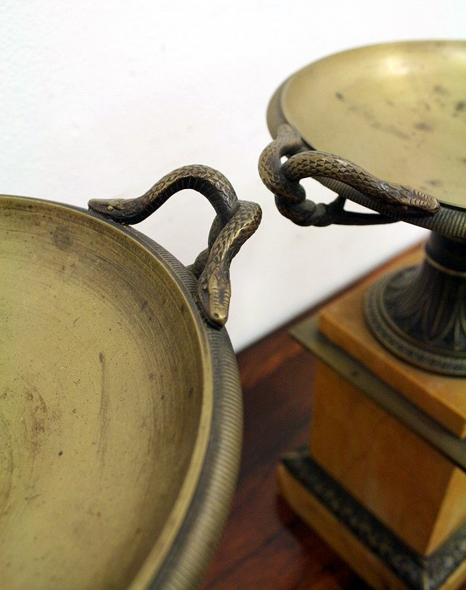 Antique Pair of Grand Tour Bronze and Sienna Marble Tazza