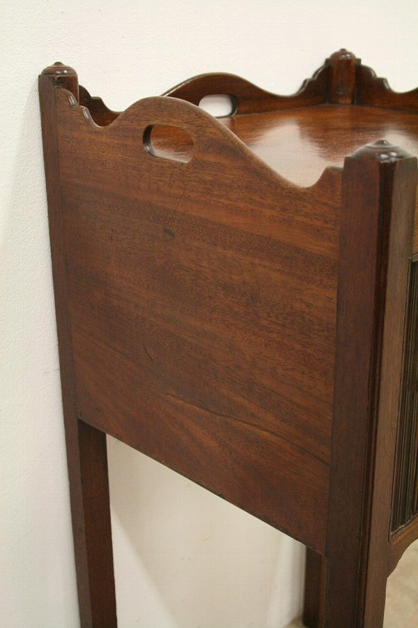 Antique George III Mahogany Tambour Front Bedside Cabinet