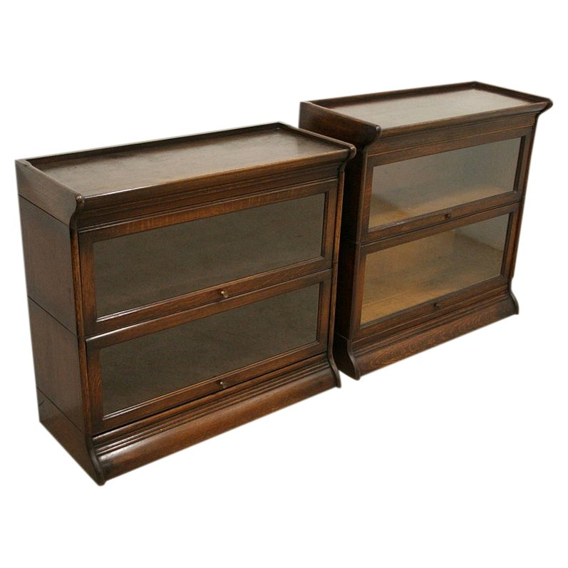 Pair of Oak Sectional/Stacker Bookcases