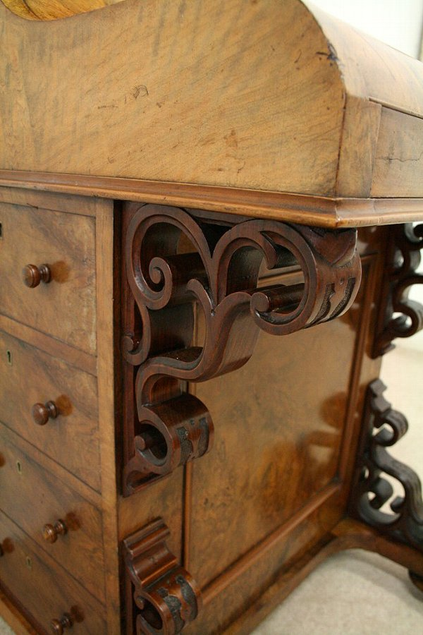 Antique Mid Victorian Jack in the Box Davenport Desk
