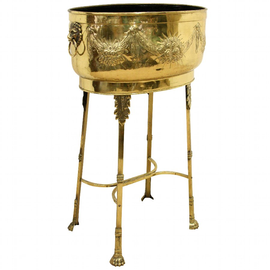Dutch Brass Jardinière on Stand