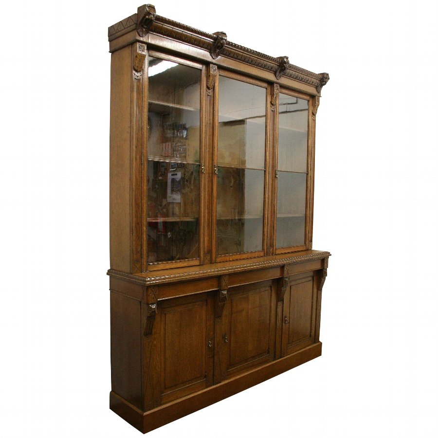 Late Victorian Carved Oak Cabinet Bookcase