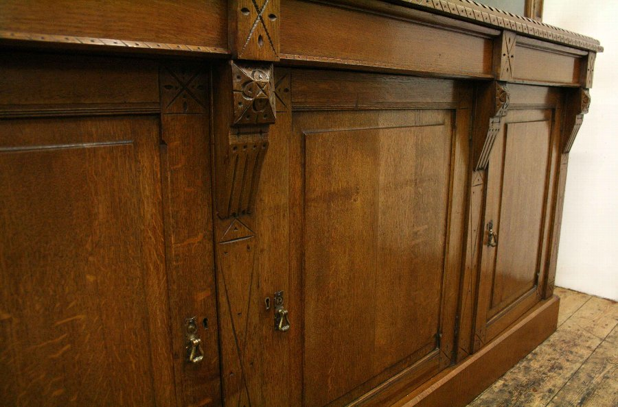 Antique Late Victorian Carved Oak Cabinet Bookcase