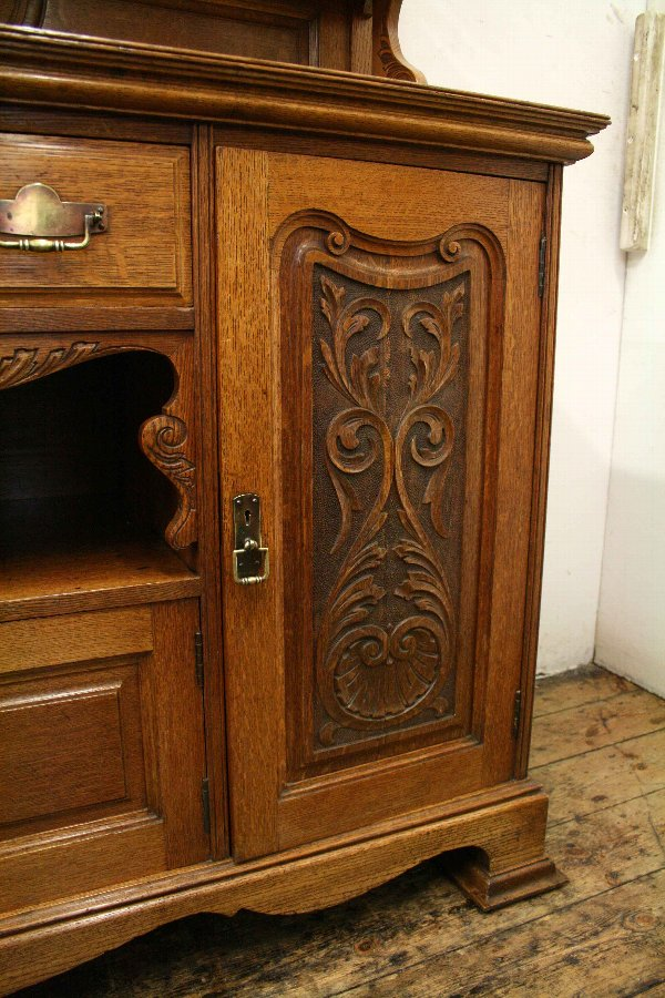 Antique Art Nouveau Oak Mirror Back Sideboard
