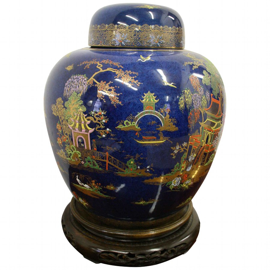 Calton Ware Ginger Jar on Chinese Stand