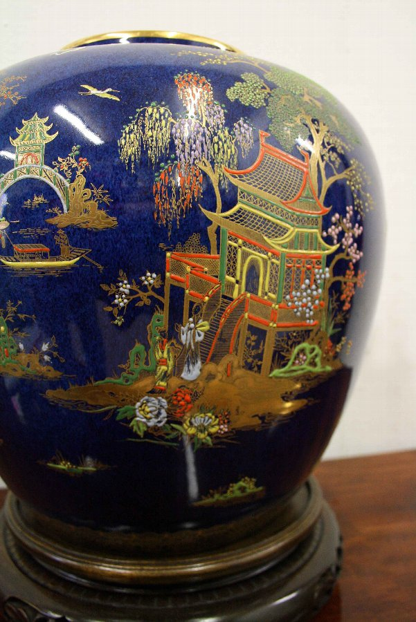 Antique Calton Ware Ginger Jar on Chinese Stand