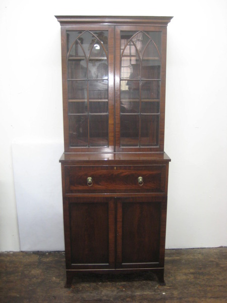 Antique Neat Mahogany Secretaire Bookcase