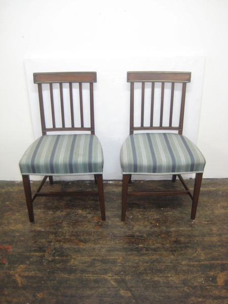 Antique Pair of Late George III Mahogany Dining Chairs
