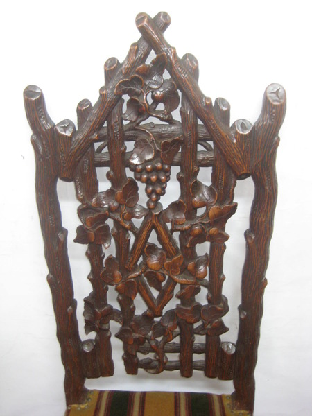 Antique Pair of Black Forest Carved Chairs