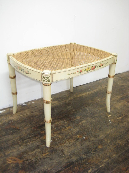 Bergere and Painted Faux Bamboo Stool