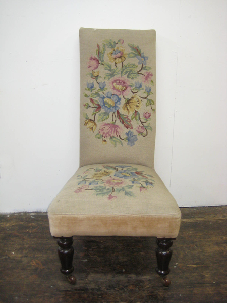 Antique Victorian Nursing Chair with Needlepoint Upholstery