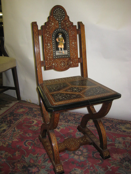 :SALE: Italian Marquetry and Bone Inlaid Hall Chair
