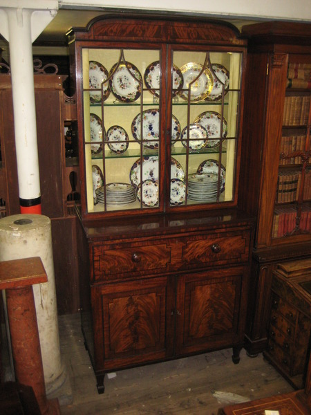 Regency Inlaid Mahogany Cabinet Bookcase