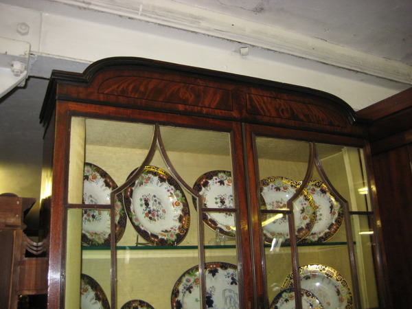Antique Regency Inlaid Mahogany Cabinet Bookcase