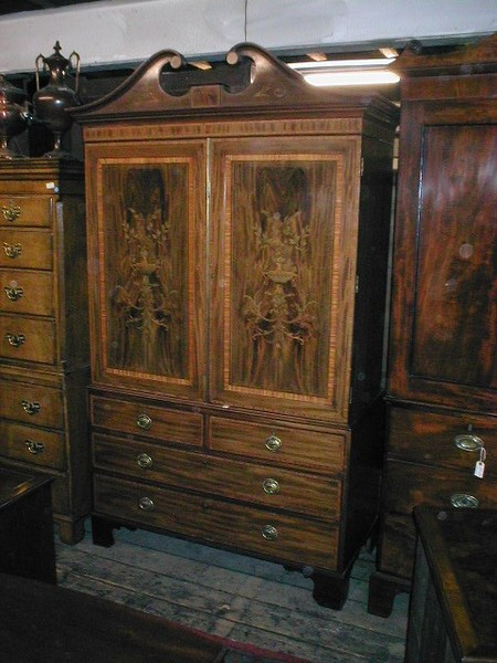 Mahogany Banded and Inlaid Linen Press