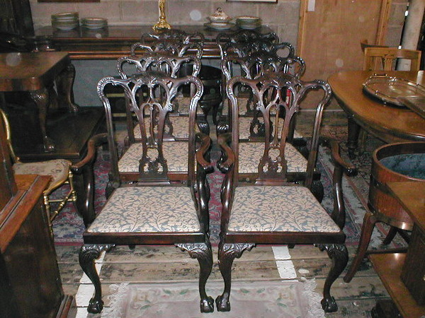 :SALE: Set of 8 (6 + 2) Chippendale Style Dining Chairs