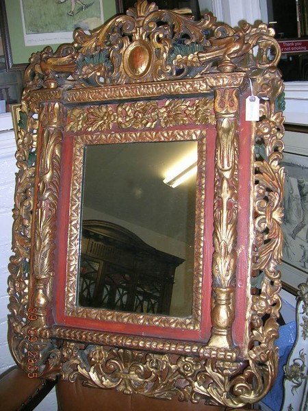 :SALE: Painted and Gilded Mirror