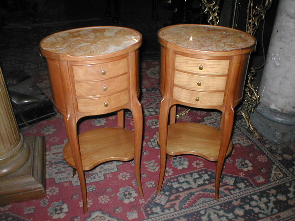 Pair of French Marble Topped Bedside Cabinets