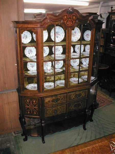 Mahogany and Marquetry Inlaid Display Cabinet