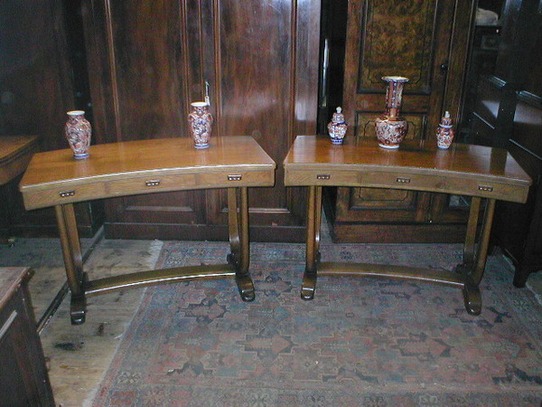 Pair of Whytock & Reid Concave Tables