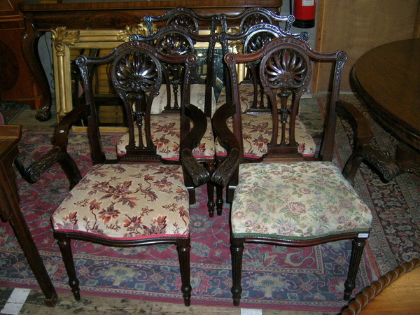 Set of 6 (4 + 2) Finely Carved Mahogany Chippendale Style Dining Chairs